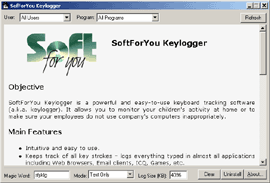 SoftForYou Keylogger - keylogger, key logger - Powerful and easy-to-use keyboard tracking software (a.k.a. keylogger)